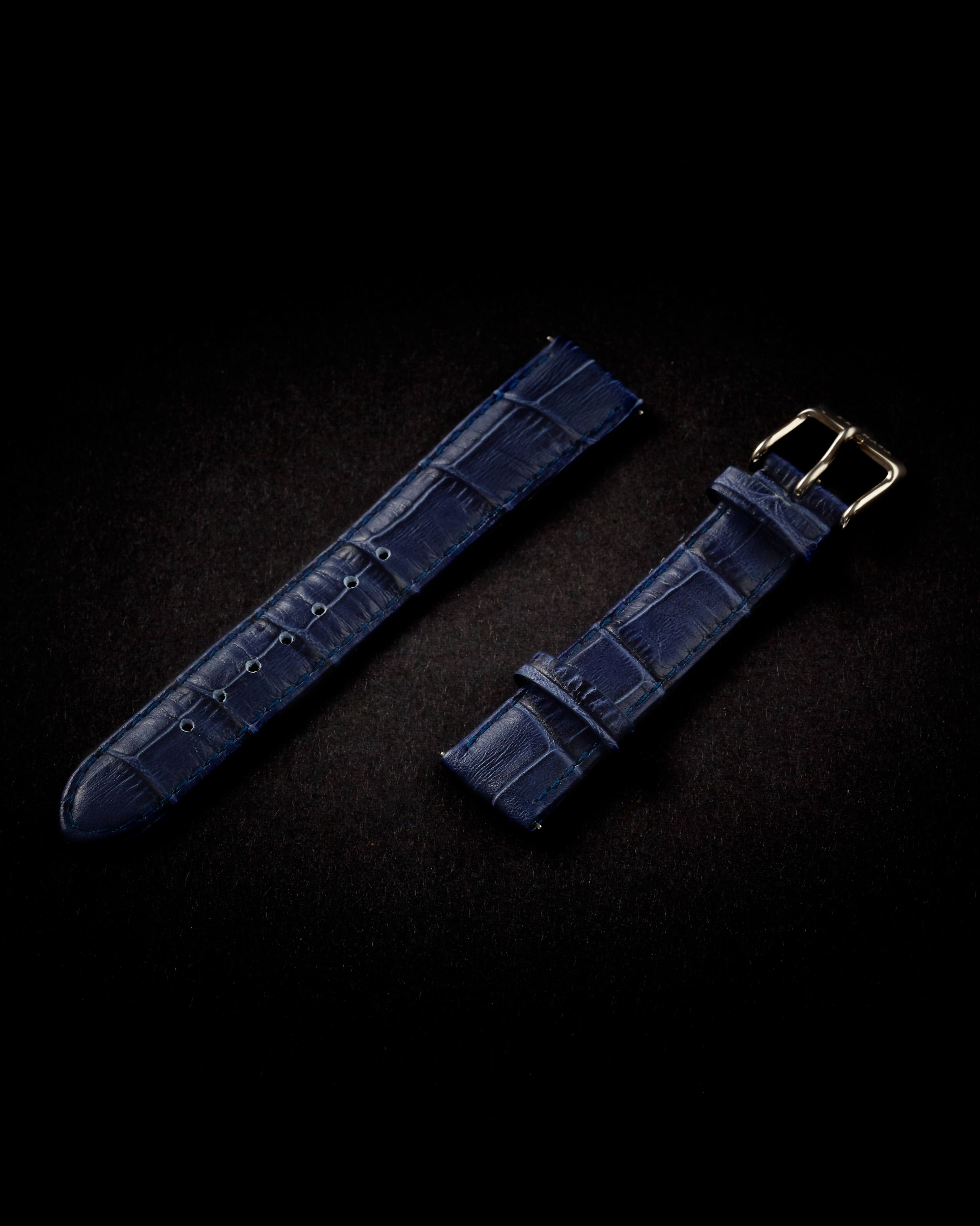 Blue leather strap 20mm, silver buckle