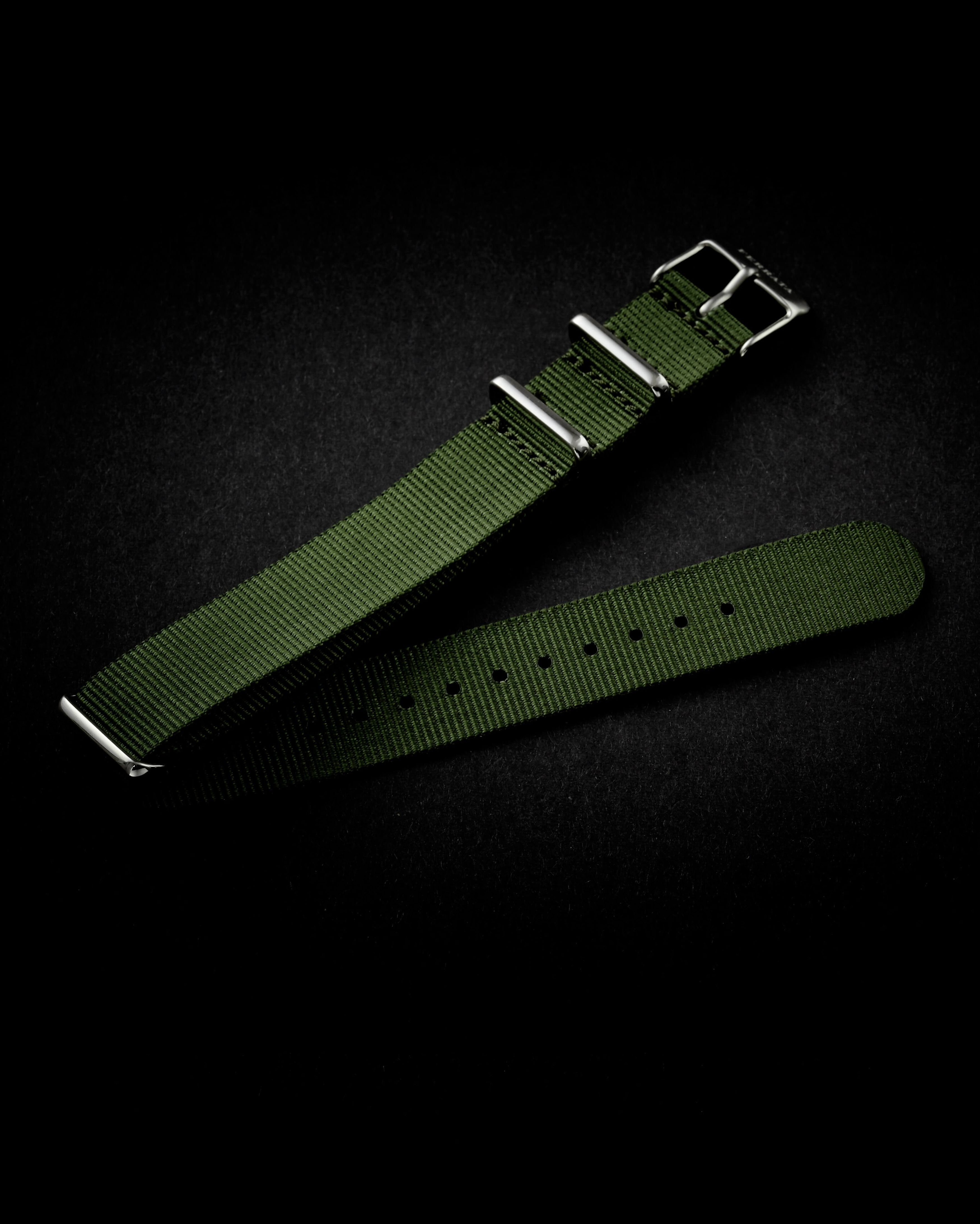 Green NATO strap 20 mm, silver buckle